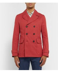 Hardy Amies - Leather-Trimmed Cotton-Canvas Peacoat - Lyst
