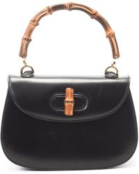 Gucci Bamboo Leather Handbag - Lyst