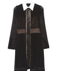 Reed Krakoff Leathertrimmed Silkchiffon Shirt Dress - Lyst