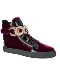 Giuseppe Zanotti Embellished Chain Velvet Sneakers - Lyst