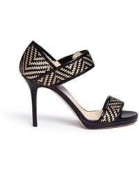 Jimmy Choo 'Alana' Lurex Basketweave Leather Sandals - Lyst