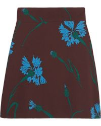 Miu Miu Floralprint Cady Mini Skirt - Lyst
