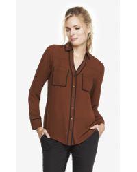 Express Contrast Piping Portofino Shirt - Lyst