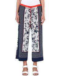 French connection Imperial Flared Trousers Utility Blue Multi - Lyst
