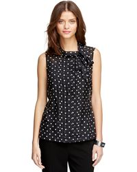 Brooks Brothers Silk Polka Dot Blouse - Lyst