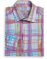 Etro Plaid Linen Shirt - Lyst