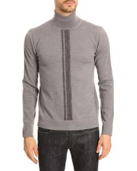 Armani Grey Anthracite Wool Roll-Neck With Contrasting Central Band - Lyst