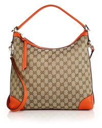 Gucci Miss Gg Small Original Gg Canvas Hobo Bag orange - Lyst
