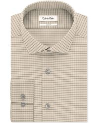 Calvin Klein Steel Non-Iron Performance Slim-Fit Toast Check Dress Shirt - Lyst