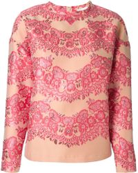 RED Valentino Embroidered Floral Top - Lyst
