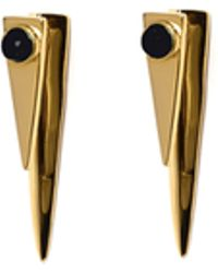 Lizzie Fortunato Pyramid Onyx Earrings gold - Lyst