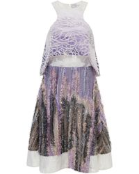 Prabal Gurung Silk Felted Bi-Level Dress - Lyst