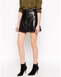 House of Harlow 1960 - Aria Faux Leather Laser Cut Skirt - Lyst