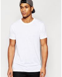 ASOS | Super Longline T-shirt With Back Print And Fishtail Hem In White | Lyst