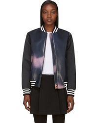 MSGM Navy and Black Macro Eye Print Bomber Jacket - Lyst