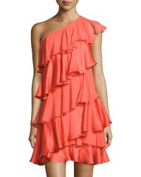 Halston Heritage One-Shoulder Tiered Silk Dress - Lyst