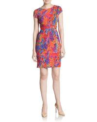 Ellen Tracy - Abstract-print Wrap Waist Sheath Dress - Lyst