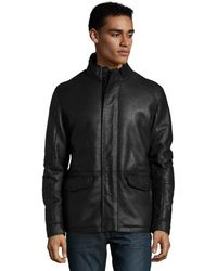 Zegna Sport Black Leather Zip Front Shearling Lined Jacket - Lyst