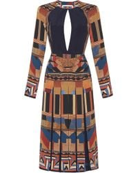 Etro Graphic Geometric Backless Long Sleeve Dress - Lyst