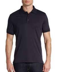 Saks Fifth Avenue Black Ice Cotton Polo Shirtslimfit - Lyst
