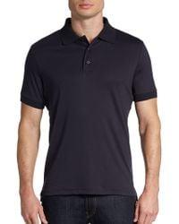 Saks Fifth Avenue Black Ice Cotton Polo Shirtslimfit - Lyst