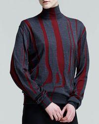 Jil Sander Bicolor Mock-neck Intarsia Top - Lyst