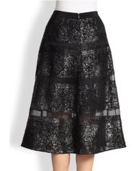 Rebecca Taylor Silk Sheer-striped Metallic Lace Skirt - Lyst