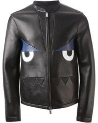 Fendi Monster Print Leather Jacket - Lyst