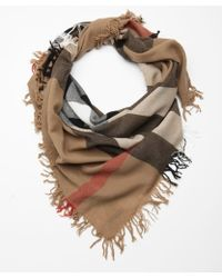 Burberry Khaki House Check Wool Fringe Scarf - Lyst