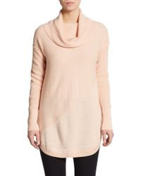 Catherine Malandrino Asymmeterical Seamed Cowlneck Sweater - Lyst