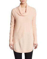 Catherine Malandrino Asymmetrical Seamed Cowlneck Sweater beige - Lyst