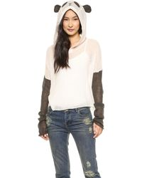 Wildfox Panda Face Hooded Sweater Vintage Lace - Lyst