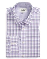 Ted Baker Trim Fit Plaid Dress Shirt - Lyst