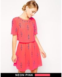 Asos Fluro Crop Top Embellished Skater Dress - Lyst