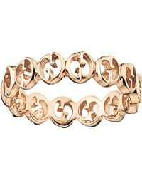 Gucci 18ct Rose-gold Wide Ring - Lyst