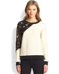 Sachin & Babi Pellat Sequinedpanel Wool Fleece Sweatshirt - Lyst