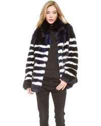 Each X Other Robert Montgomery Signs X Mariner Fur Coat - Navywhite - Lyst