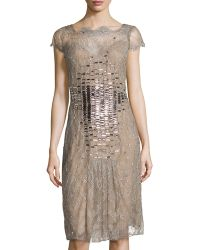 Carolina Herrera Cap-sleeve Lace Overlay Cocktail Dress - Lyst