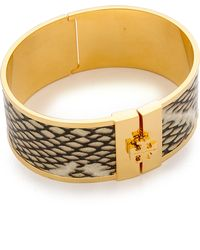 Tory Burch Skinny Leather Inlay Bracelet - Natural/Shiny Brass - Lyst