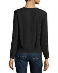 Nikkies Threads - Embroidered V-neck Long-sleeve Blouse - Lyst