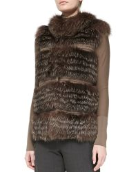 Rena Lange Tiered Fox Fur And Knit Vest - Lyst
