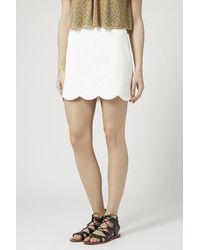 Topshop Scallop Hem Mini Skirt - Lyst