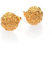 John Hardy | Classic Chain 18k Yellow Gold Braided Stud Earrings | Lyst