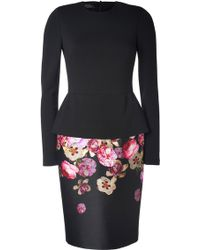Giambattista Valli Wool-Silk Flower Print Long Sleeve Dress - Lyst
