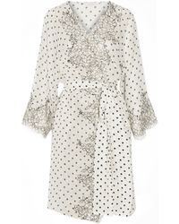 Rosamosario Chaplin'S Love Story Lace-Trimmed Printed Silk-Crepe Robe - Lyst