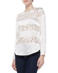 Rebecca Taylor Silk  Lace Long-sleeve Top Black 0 - Lyst
