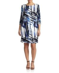 ABS By Allen Schwartz Stretch Jersey Printed Dress - Lyst