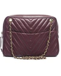 Chanel Pre-Owned Marsala Lambskin Cheveron Camera Bag - Lyst