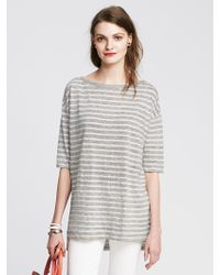 Banana Republic Striped Linen Boatneck Tee - Lyst