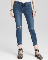 Free People Jeans - Destroyed Crop Skinny In Tupelo Blue - Lyst